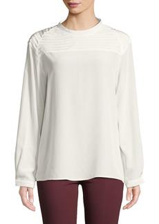 J Brand Chrystal Pleated Long-Sleeve Silk Top