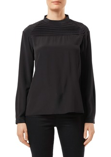 J Brand Chrystal Pleated Silk Blouse