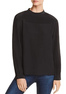 J Brand Chrystal Pleated Silk Top