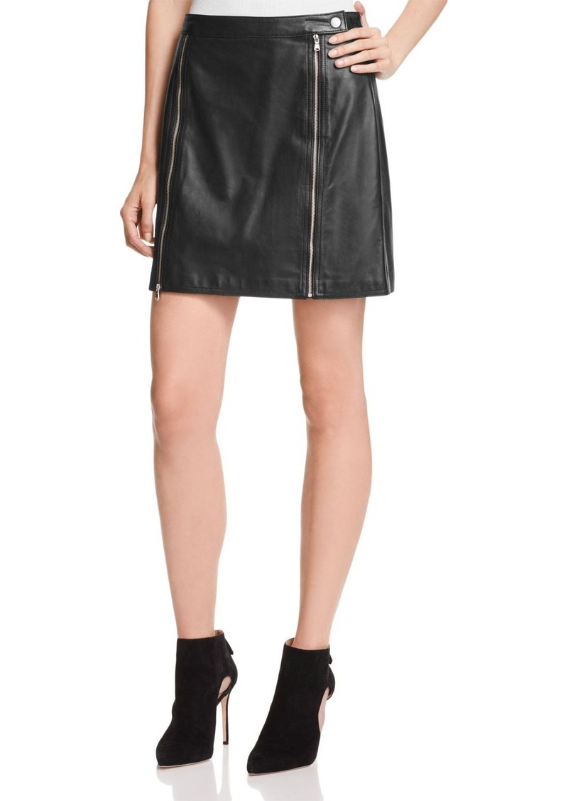 J Brand Claret Leather Skirt