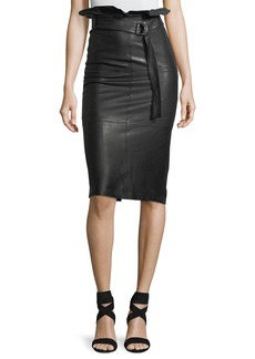 J Brand Claudia High-Waist Lamb-Leather Midi Skirt