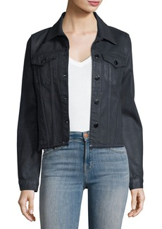 J Brand Coated Slim Button-Front Denim Jacket w/ Raw Hem