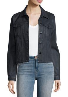 J Brand Coated Slim Button-Front Denim Jacket w/ Raw Hem