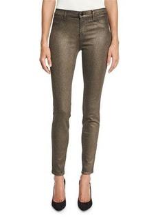 J Brand Cosmos Metallic Mid-Rise Super Skinny Jeans