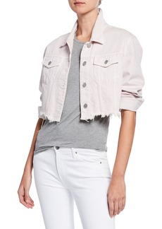 J Brand Cyra Button-Front Cropped Denim Jacket