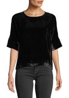 J Brand Daisy Short-Sleeve Velvet Blouse