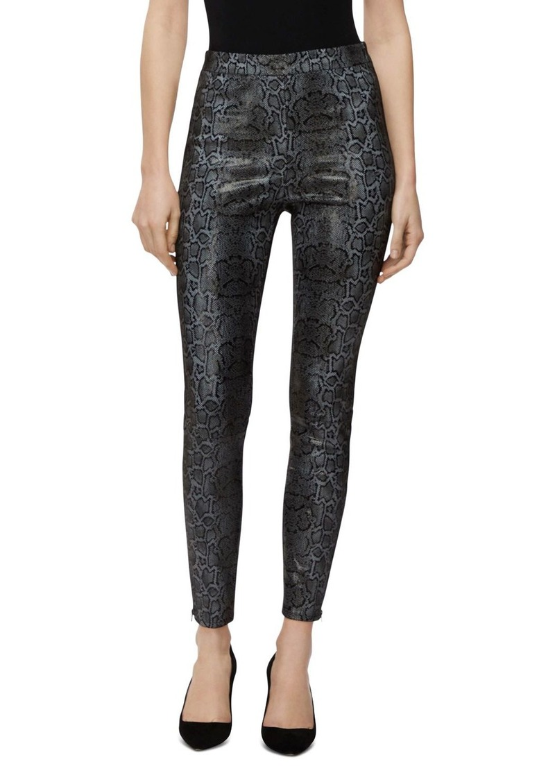 J Brand Darcy Pull-On Zip Skinny Leather Pants in Snail Foil Print