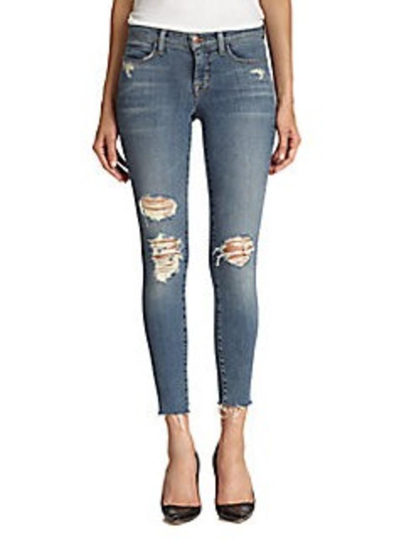 j brand j brand distressed cropped skinny jeans denim shop it to me. Black Bedroom Furniture Sets. Home Design Ideas