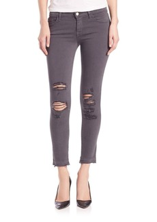 J Brand Distressed Low-Rise Cropped Skinny Jeans