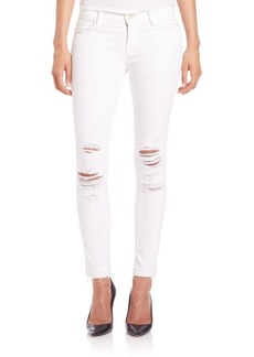 J Brand 9326 Distressed Low-Rise Cropped Skinny Jeans