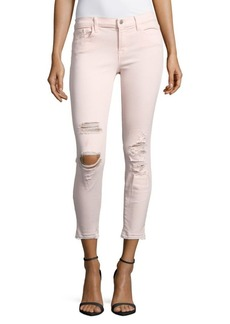 J BRAND Distressed Low-Rise Jeans/Pink Ribbo