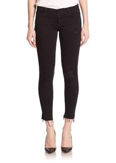 J BRAND Distressed Mid-Rise Capri Jeans