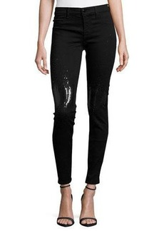 J Brand Drizzle Sequined Mid-Rise Super Skinny Jeans