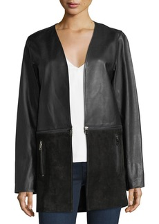 J Brand Emory Open-Front Zip-Off Leather & Suede Jacket