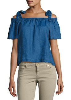 J Brand Evonie Short-Sleeve Linen Top