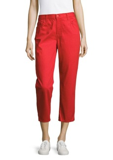 J BRAND Five-Pocket Cropped Jeans/Red