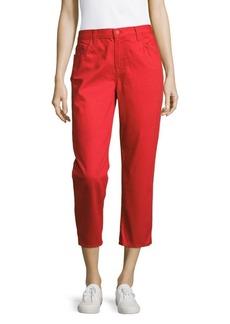J BRAND Five-Pocket Cropped Jeans/Red