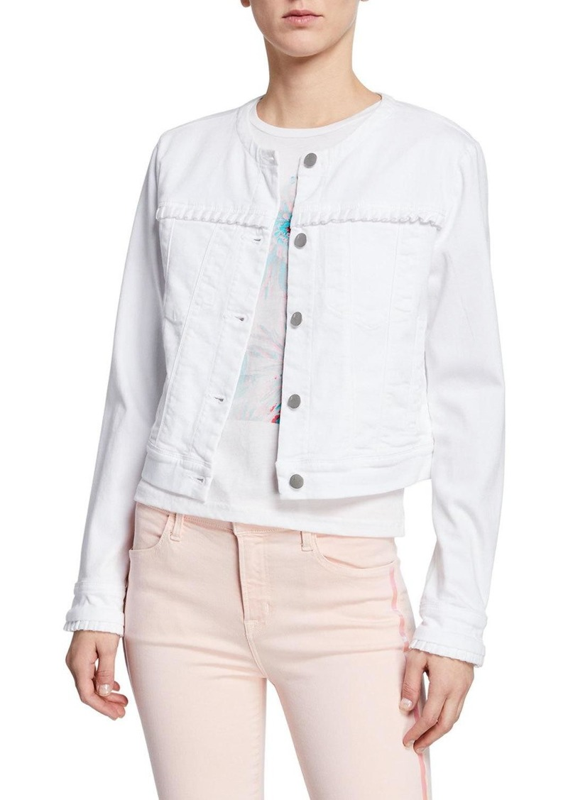 J Brand Harlow Collarless Ruffle Denim Jacket