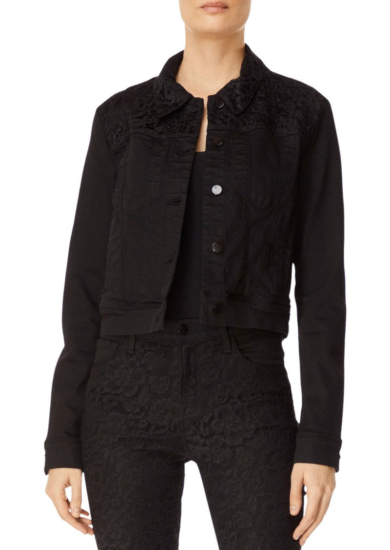J Brand Harlow Cropped Denim Jacket w/ Lace
