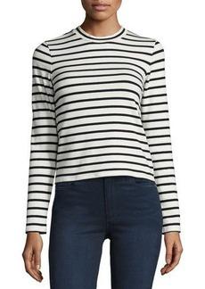 J Brand Harper Striped Long-Sleeve Crop Top