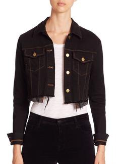 J BRAND Henli Raw-Edge Cropped Denim Jacket
