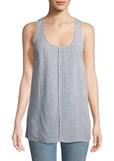 J Brand Indy Scoop-Neck Racerback Linen-Blend Top