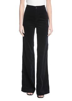 J Brand Isabella High-Rise Tailored Wide-Leg Velveteen Pants