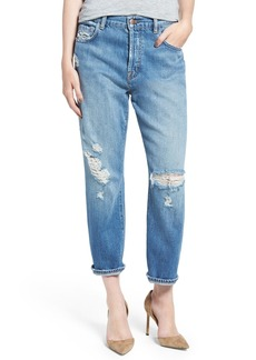 J Brand 'Ivy' High Rise Crop Straight Leg Jeans (Bleach Wrecked)