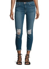 J Brand Breathless Mid-Rise Distressed Cropped Jeans