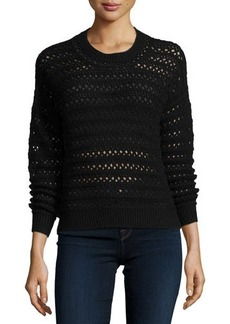 J Brand Jeans Flower Long-Sleeve Crochet Sweater