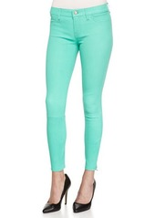 J Brand Vegetable-Dyed Leather Mid-Rise Cropped Jeans