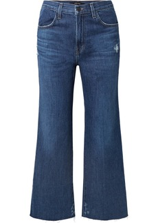 J Brand Joan cropped distressed high-rise flared jeans
