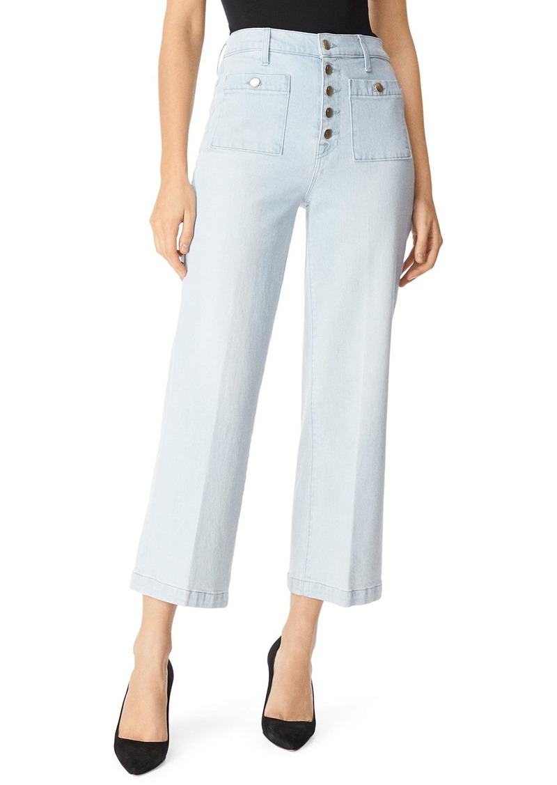 J Brand Joan High-Rise Cropped Wide-Leg Jeans w/ Patch Pockets