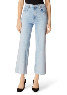 J Brand Joan High-Rise Cropped Wide-Leg Jeans w/ Raw Hem