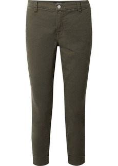 Josie cropped stretch-cotton twill tapered pants