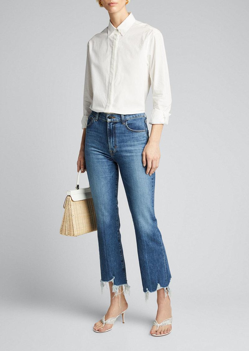 J Brand Julia High-Rise Flare Jeans with Shredded Hem