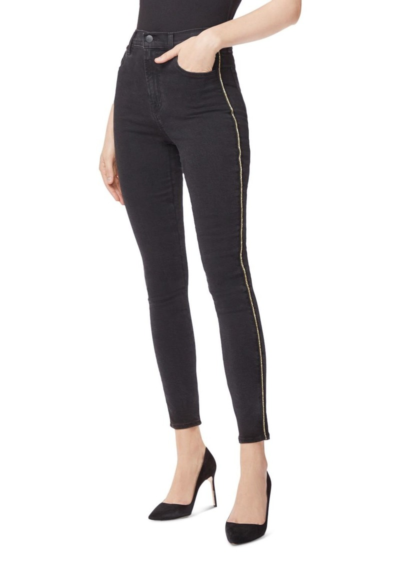 J Brand Leenah High Rise Skinny Ankle Jeans in Provocative Gold Braid