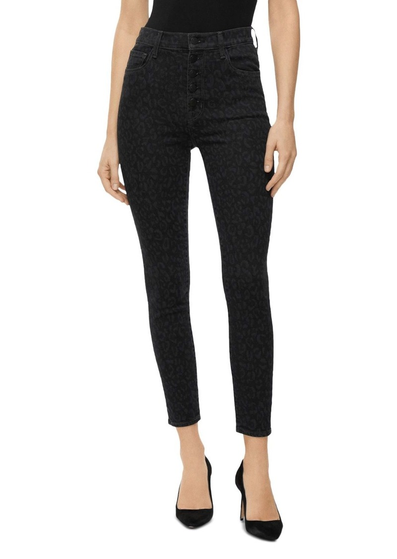 J Brand Lillie High Rise Cropped Leopard-Printed Jeans in Savannah