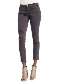 J Brand Low-Rise Distressed Cropped Jeans