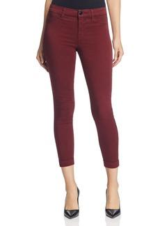 J Brand Luxe Sateen Anja Cuffed Crop Jeans in Oxblood