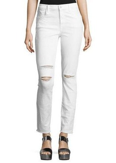 J Brand Maria High-Rise Distressed Skinny Jeans with Raw Hem