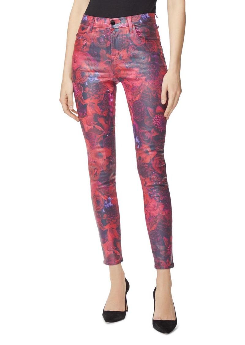 J Brand Maria High Rise Skinny Coated Jeans in Fleur Rouge