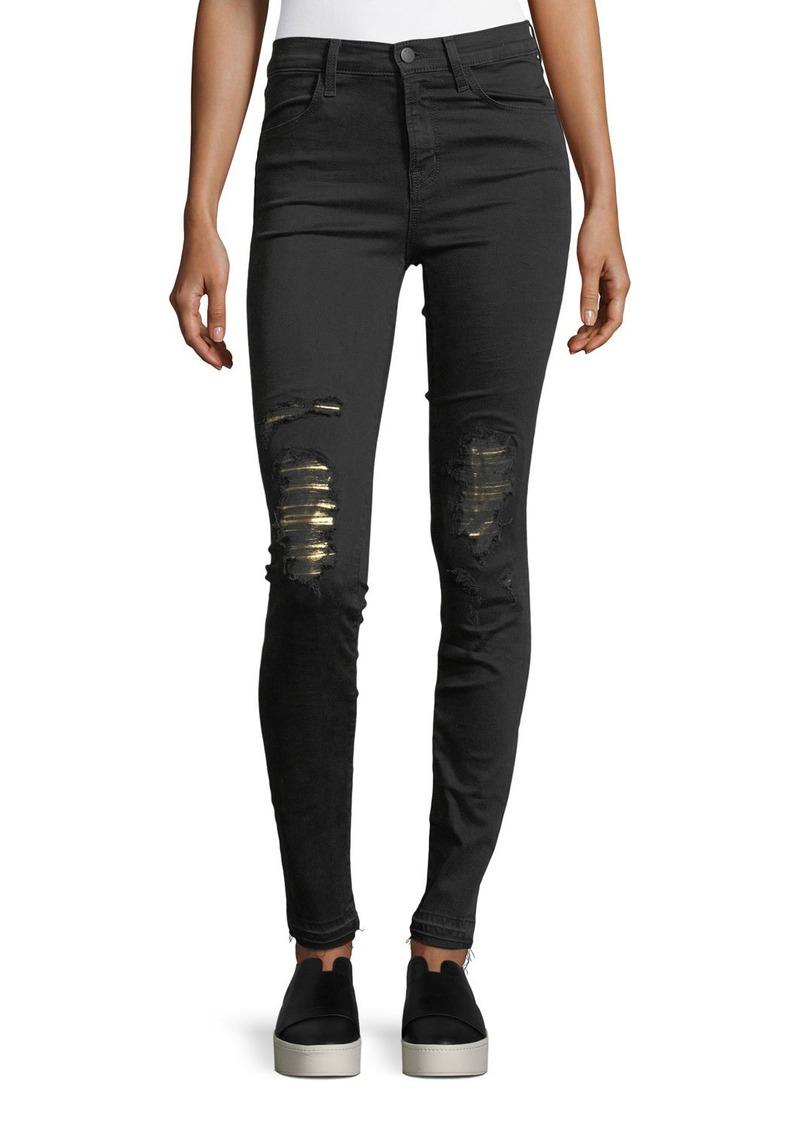 J Brand Maria High-Rise Skinny Jeans w/ Distressed Metallic Knees