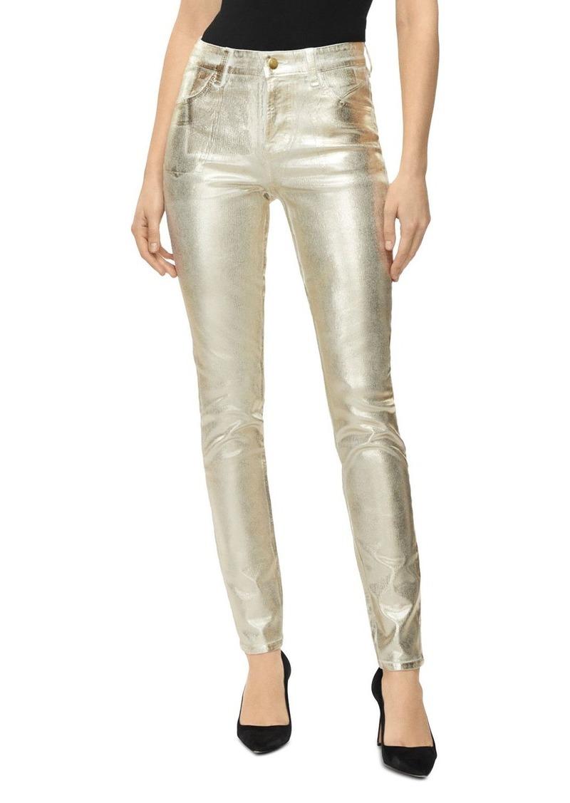 J Brand Maria Metallic High Rise Skinny Jeans in Gold Messaline