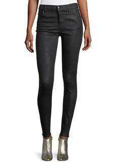 J Brand Maria Mid-Rise Skinny Coated Denim Jeans