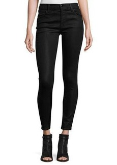 J Brand Mid-Rise Coated Skinny Ankle Jeans