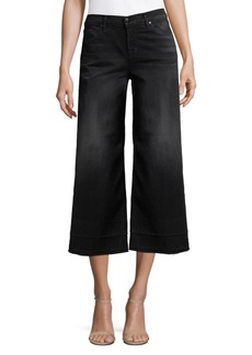 J Brand Mid-Rise Cropped Culotte Dark Jeans