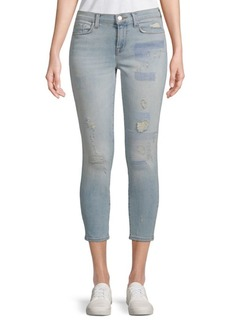 J BRAND Mid-Rise Distressed Cropped Jeans