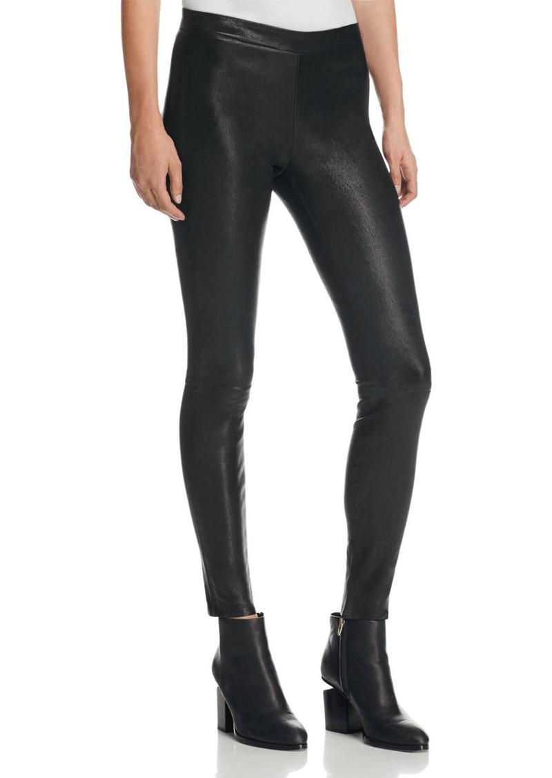 J Brand Mid Rise Leather Leggings in Black