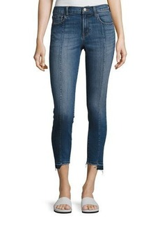 J Brand Mid-Rise Pintuck Skinny Jeans